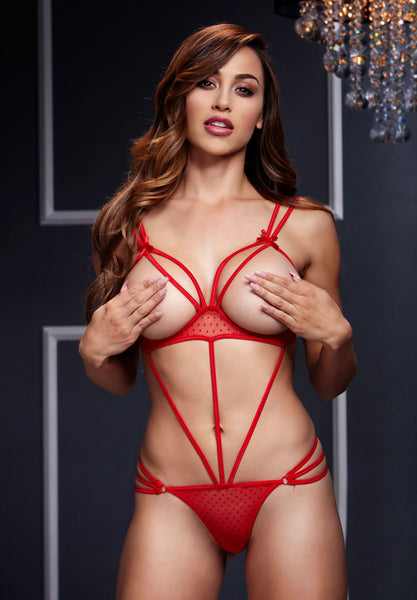 Red Strappy Bodysuit Teddy