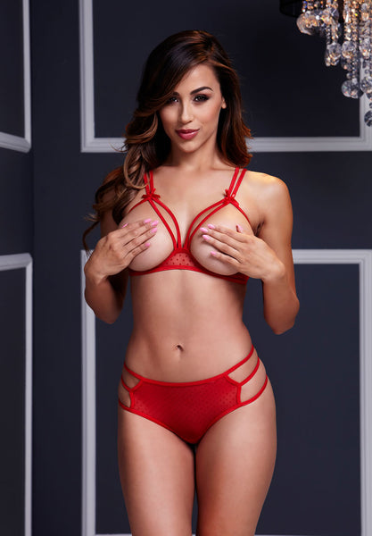 Red Strappy Open Cup Bra Set