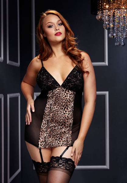 Leopard Basque with Garter