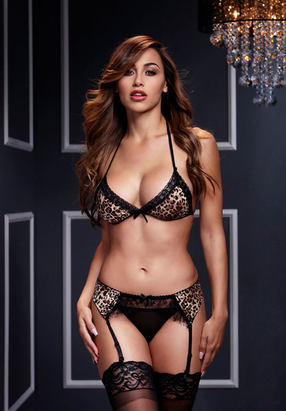 Leopard & Lace Bra Set