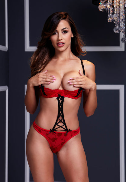 Red Strappy Teddy