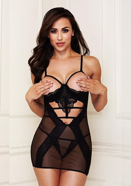 "Black Lace & Mesh ""Show Me""  Chemise Set"