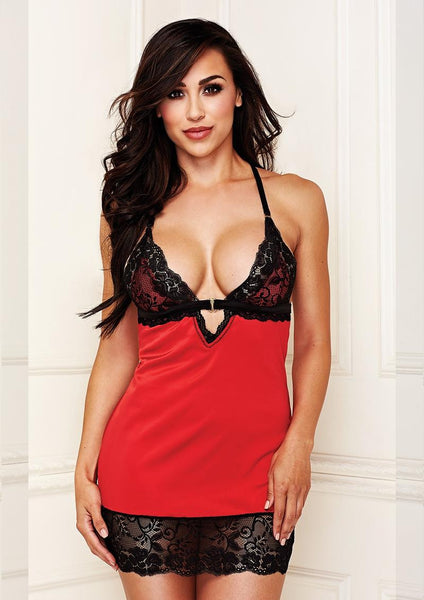 Red Lace Chemise & G-String Set