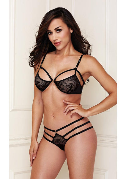 Black Lace Bralette with Strappy Panty Set