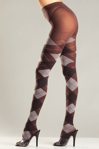 Brown & Grey Argyle Tights