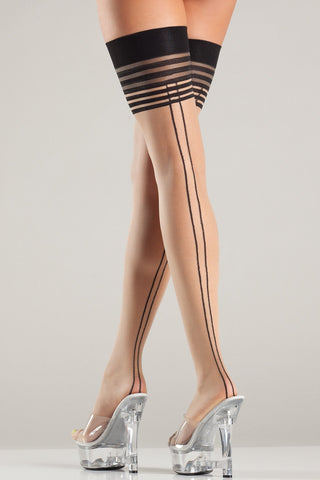 Multi Stripe Thigh Highs