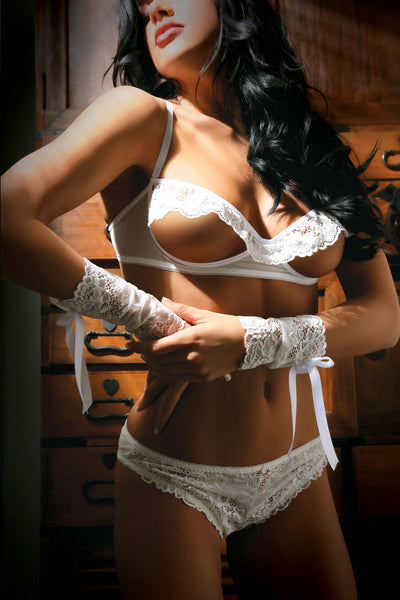 Forever Yours Bra Panty & Gloves Set