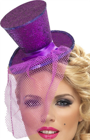 Mini Top Hat on Headband - Purple