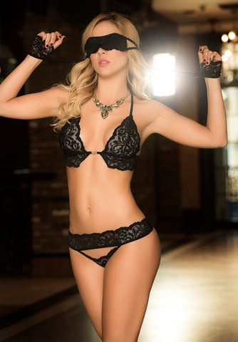 Black Lace Bra Set