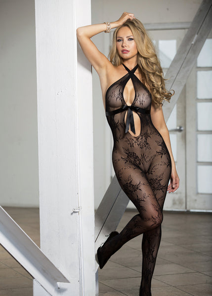 Stretch Lace Open Front Body Stocking