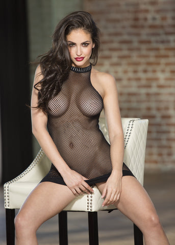 Stretch Fishnet Halter Neck Chemise With Rhinestone Trim