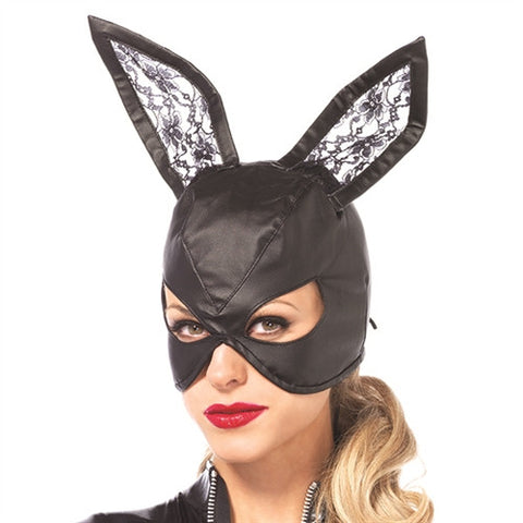 Faux Leather Bunny Mask w/ Lace Ears