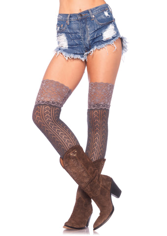 Crochet Knit Over the Knee Slouch Socks With Lace Top