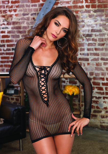 Long Sleeved Net Lace Up Mini Dress