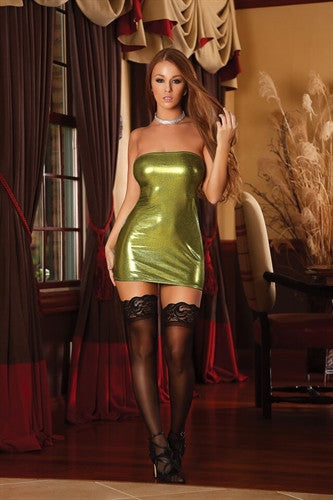 Zipper Back Tube Dress & G-String Set