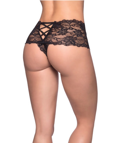 Crotchless Lace Boyshort - Queen Size