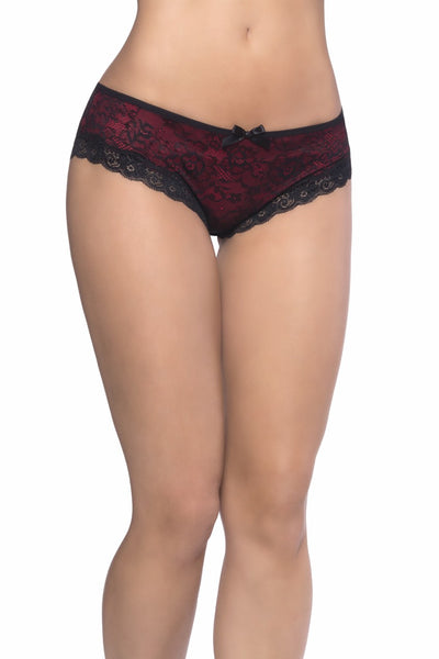 Lace Overlay Cage Panty - Red/Black