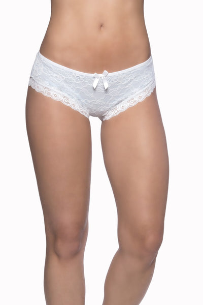 Lace Overlay Cage Panty - Blue/White