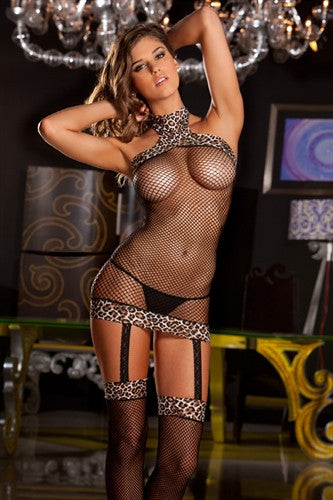 Leopard Halter Fishnet Dress with Built-In Thigh High