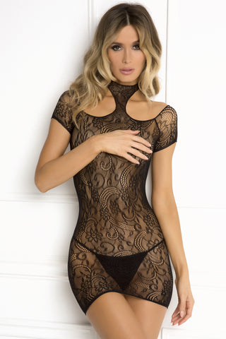 Cold Shoulder Lace Bodystocking Mini Dress