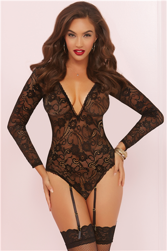 Long Sleeve Teddy With Garters