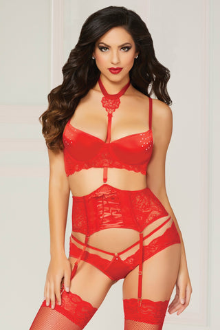 Jeweled Bra, Waspie & Panty Set