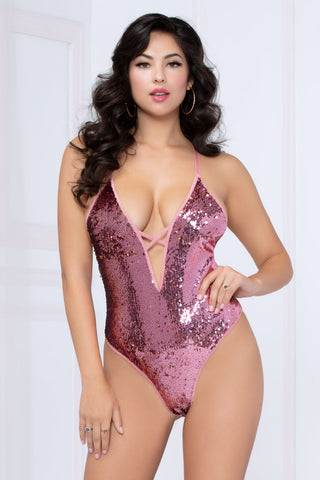 Two-Tone Sequin Teddy - Pink/gold