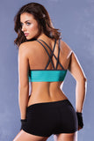 Strike Strappy Back Sports Bra - Black/green