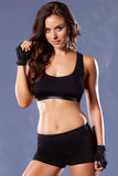 Strike Corsetry Back Microfiber Sports Bra - Black