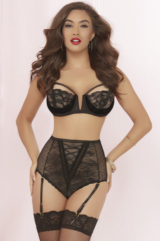 Utter Romance Galloon Lace Plunging V Bra Set