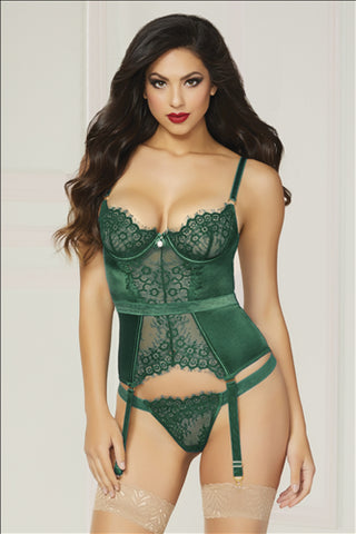 Lace & Satin Bustier with Garter