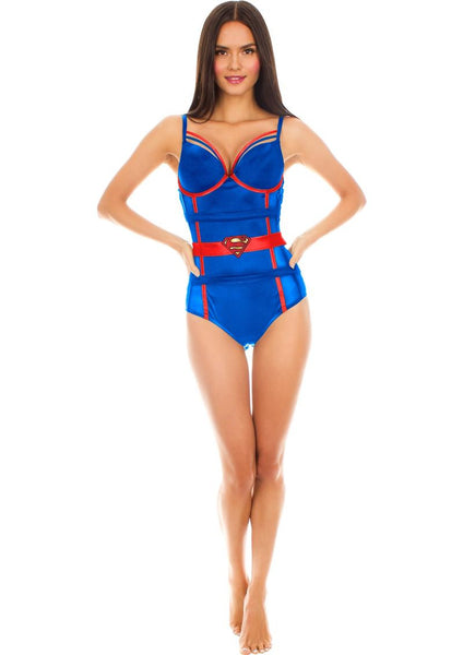 Superman Satin & Mesh Teddy Bodysuit