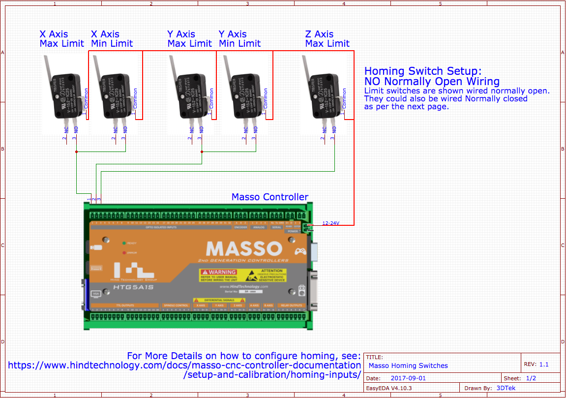 Masso Wiring Diagrams 3dtek Cnc Power Diagram Homing Normally Closed