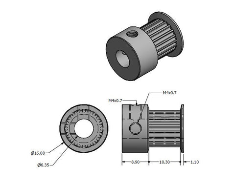 GT2 Pulley - 1/4 inch (6.35mm) Bore
