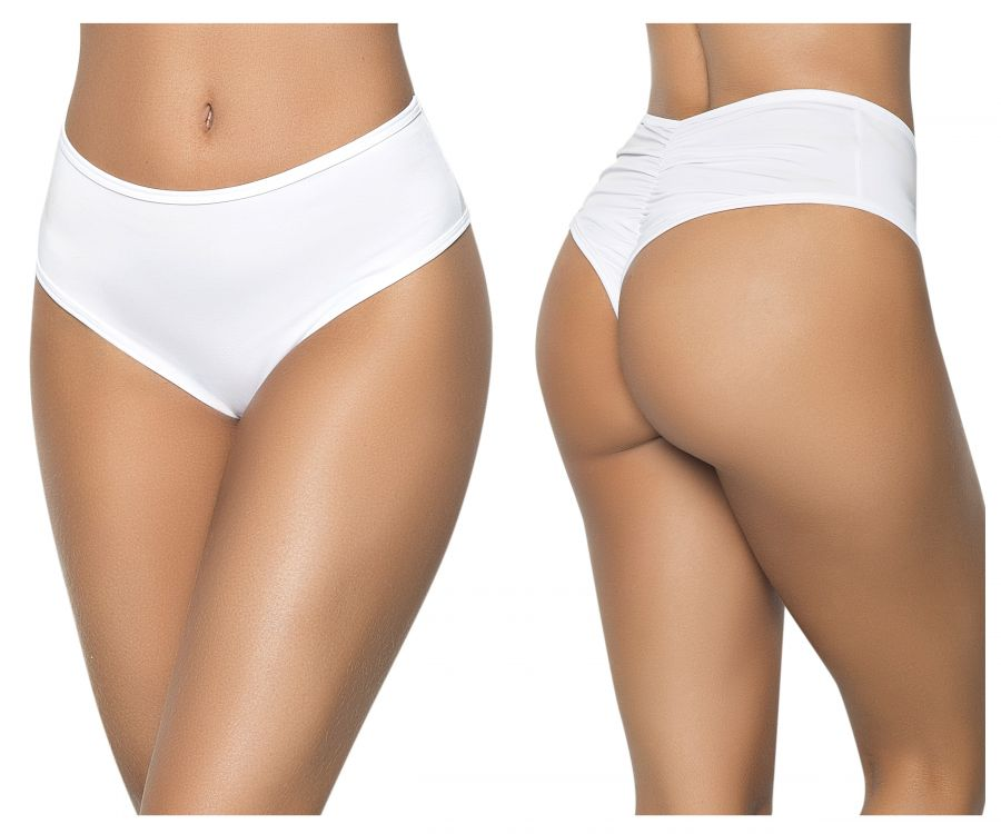 Mapale 3037 High Waist Ruched Back Panty Color White