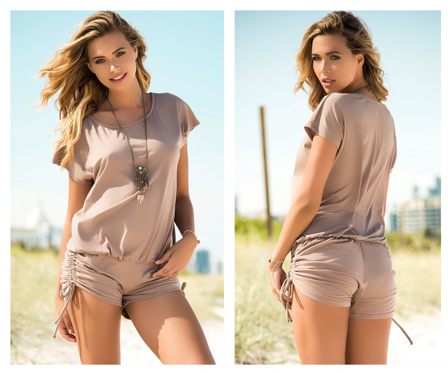 Mapale 5736 Loose Fit Romper with Drawstring on the Sides Color Taupe