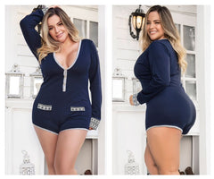 Mapale 7233X Long Sleeve Sleep Romper Color Blue