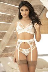 Mapale 8221 Three Piece Garters Set Color Ivory