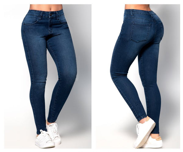 Mapale D1912 Butt Lifting Jeans with Body Shaper (Shaper has two hook Adjustments) Color Blue