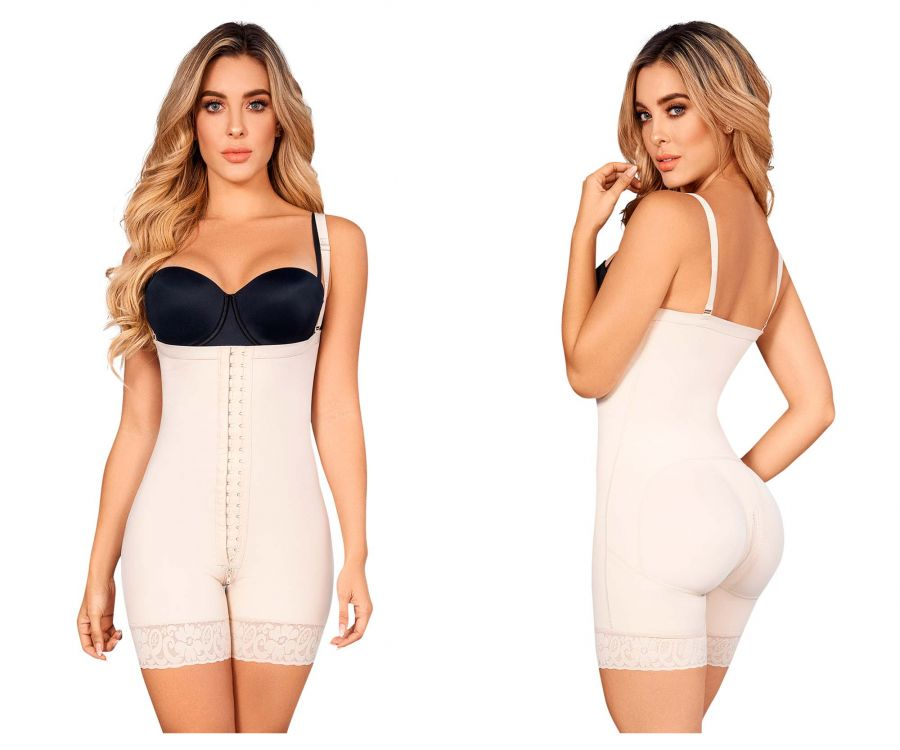 Moldeate 1048 Control Body Shaper Open Bust Mid Thigh Color Beige