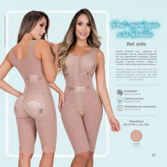 Moldeate 1061 Post Surgical Full Control Body Shaper Knee Length Color Mocha