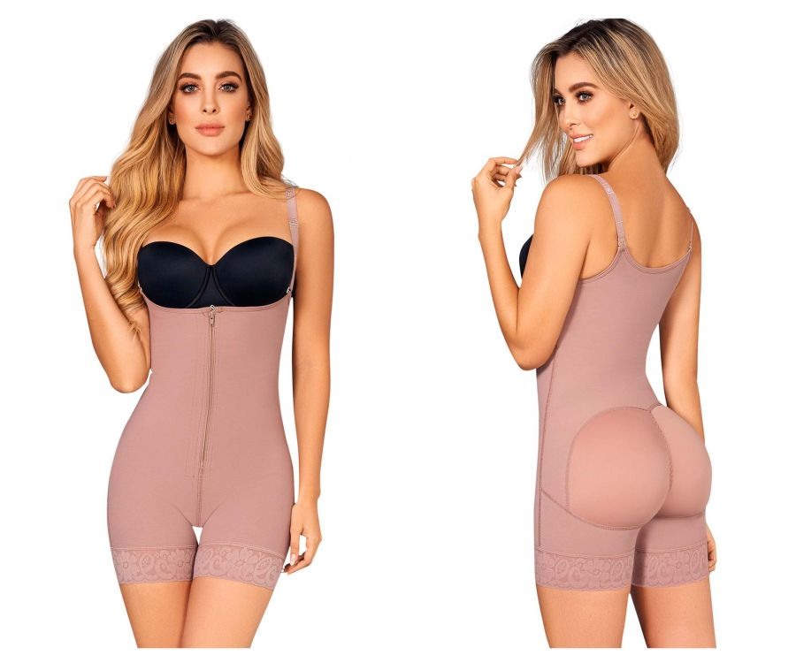 Moldeate 5050 Open Bust Push up and Butt Lifter Body Shaper Front Zipper Color Mocha