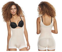TrueShapers 1250 Slimming Braless Body Shaper Girdle in Boyshort Color Beige - Control Bodysuits - 365Me Shapewear