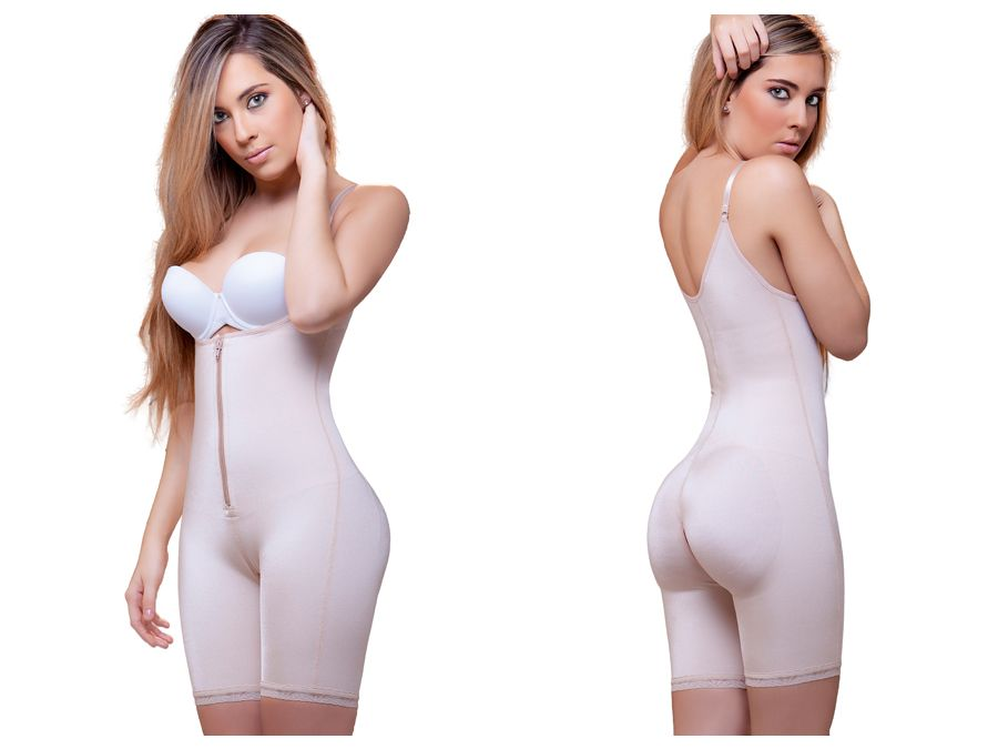 Vedette 945 Jiselle Mid Thigh Full Body w/ Front Zipper Color Nude