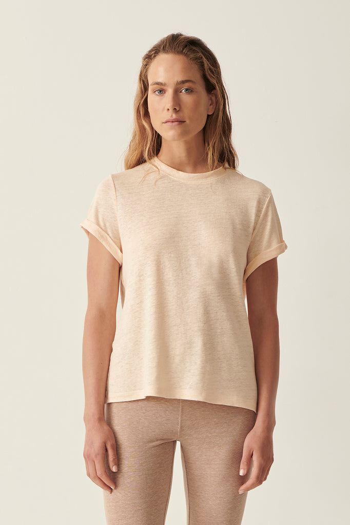 Sand Martine Crew Neck Rolled Sleeve Tee