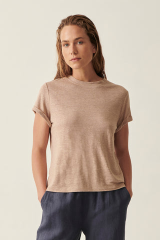 Camel Martine Crew Neck Rolled Sleeve Tee