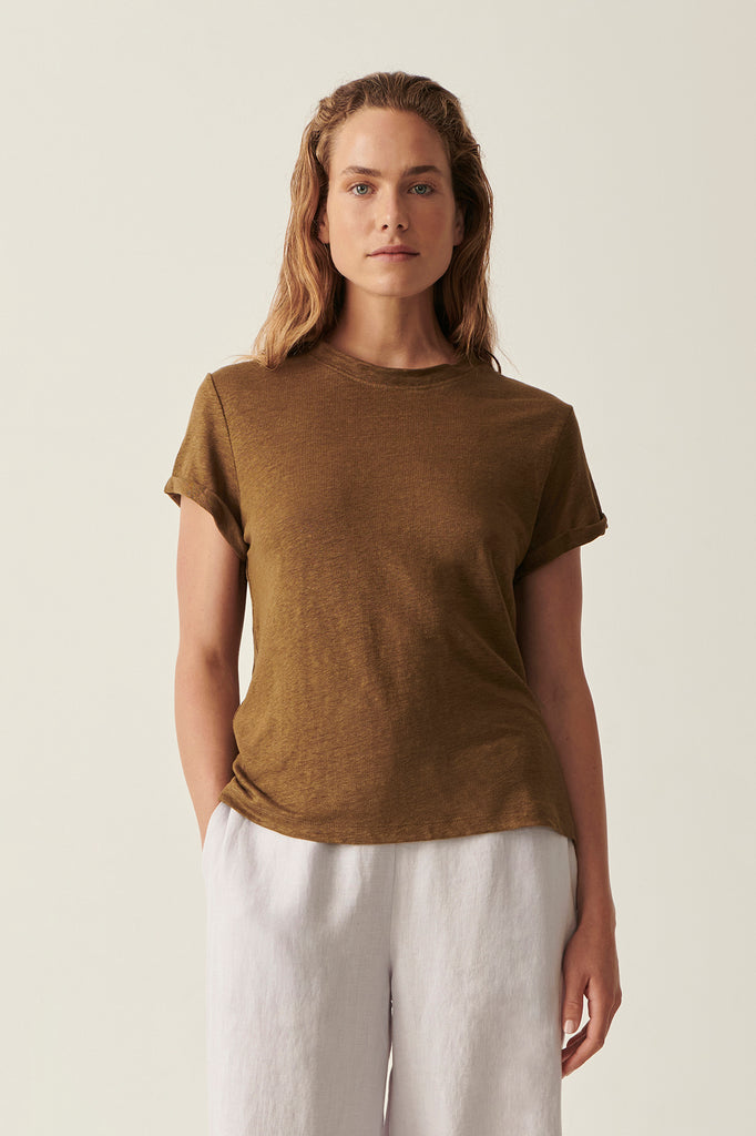 Olive Martine Crew Neck Rolled Sleeve Tee