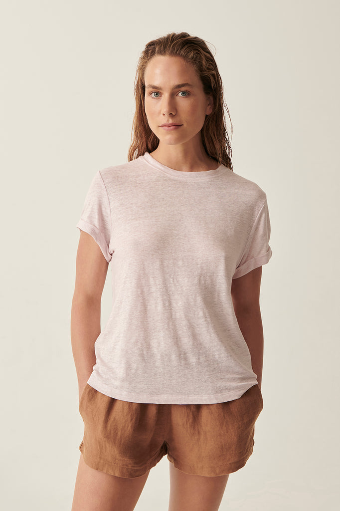 Lilac Martine Crew Neck Rolled Sleeve Tee