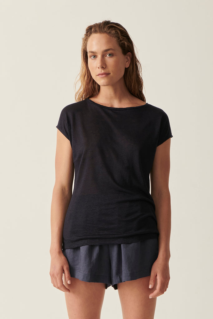 Navy Martine Cap Sleeve Tee