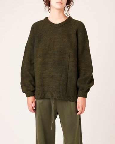 Hand Knit Raglan Ladder Sweater - Khaki